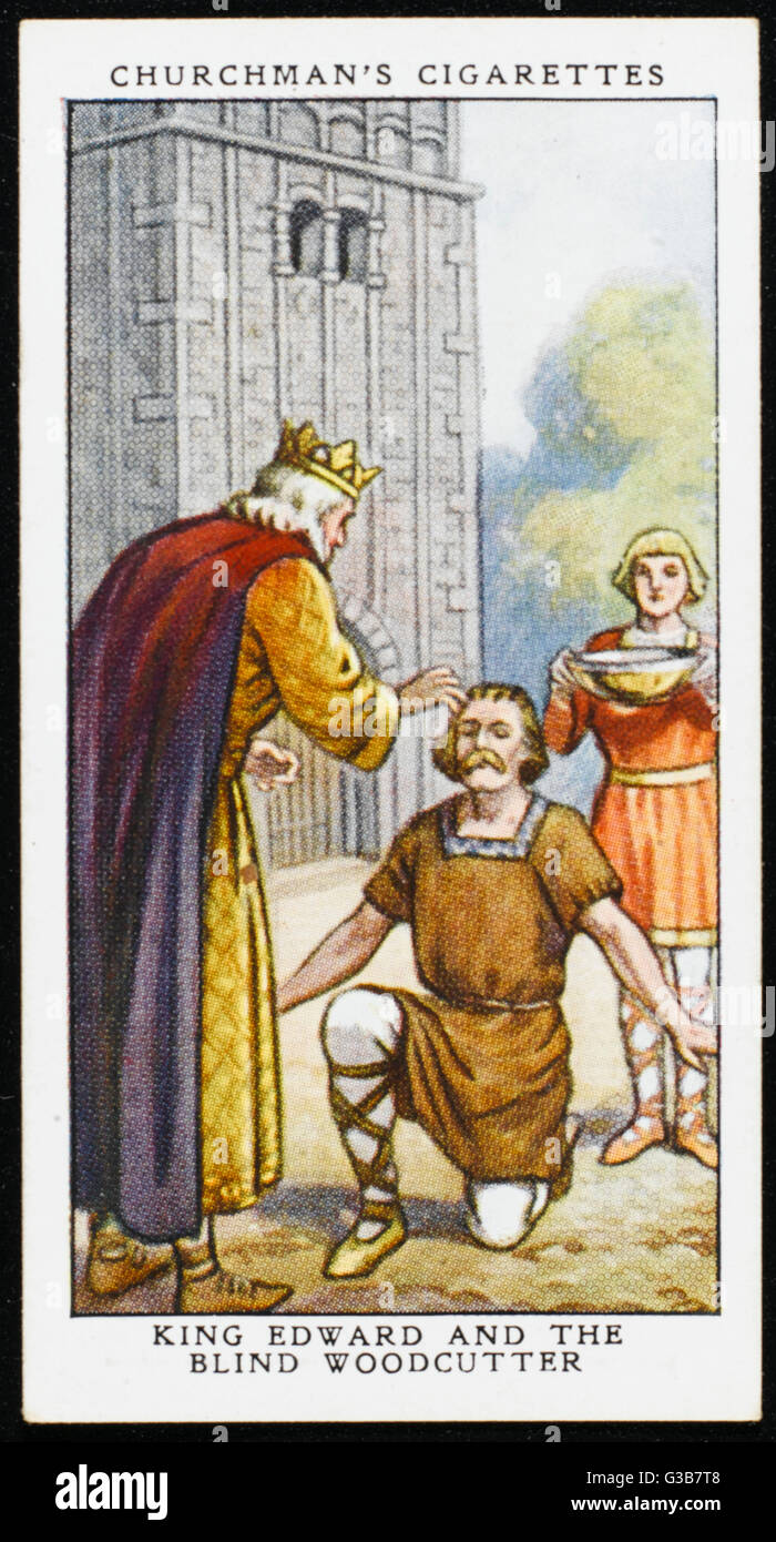 A wodcutter, struck blind, is  directed in a dream to go on  pilgrimage. He ends up at  Windsor where Edward the - Stock Image