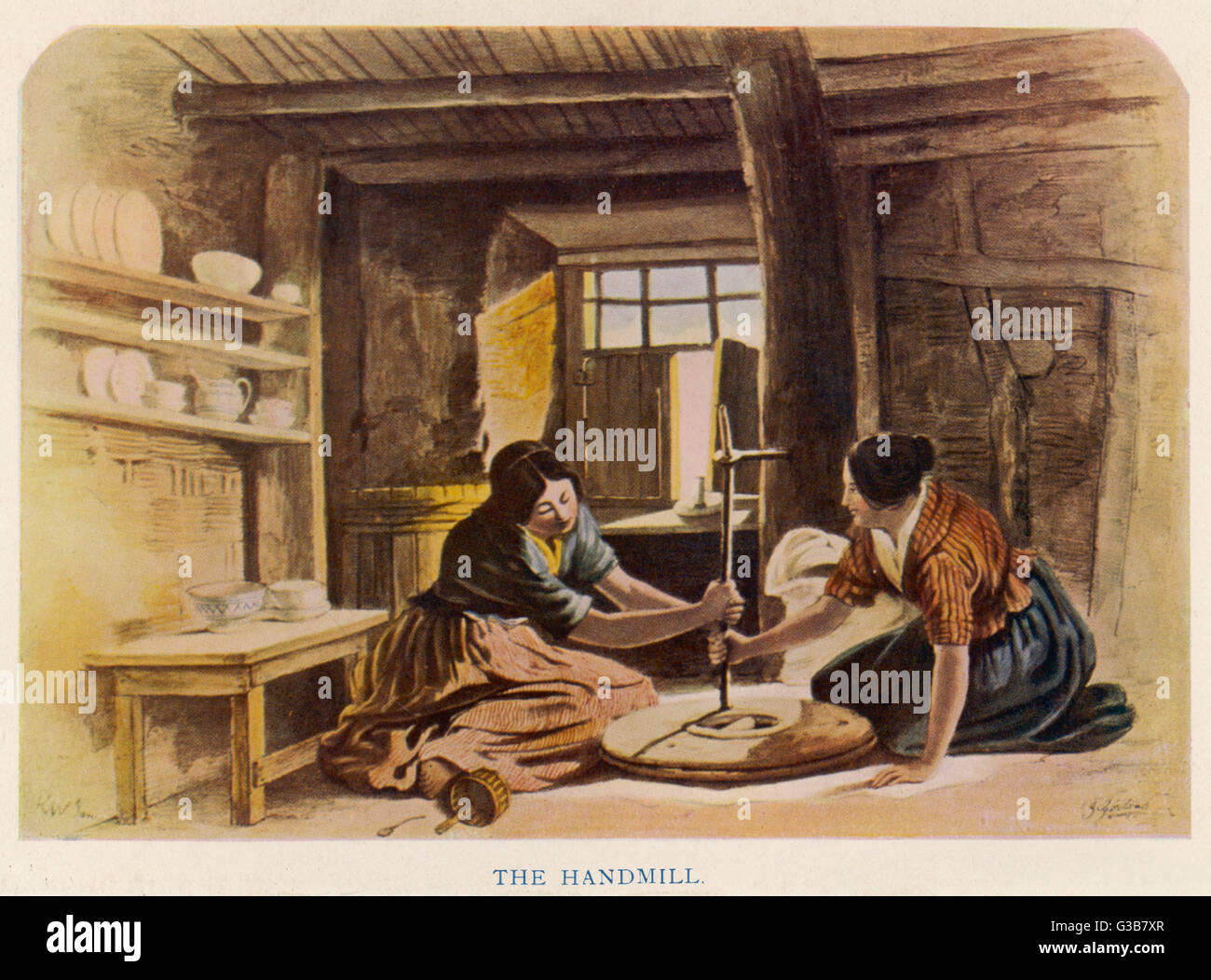 Two women use a handmill to  grind flour in a Scottish  cabin       Date: 1848 - Stock Image