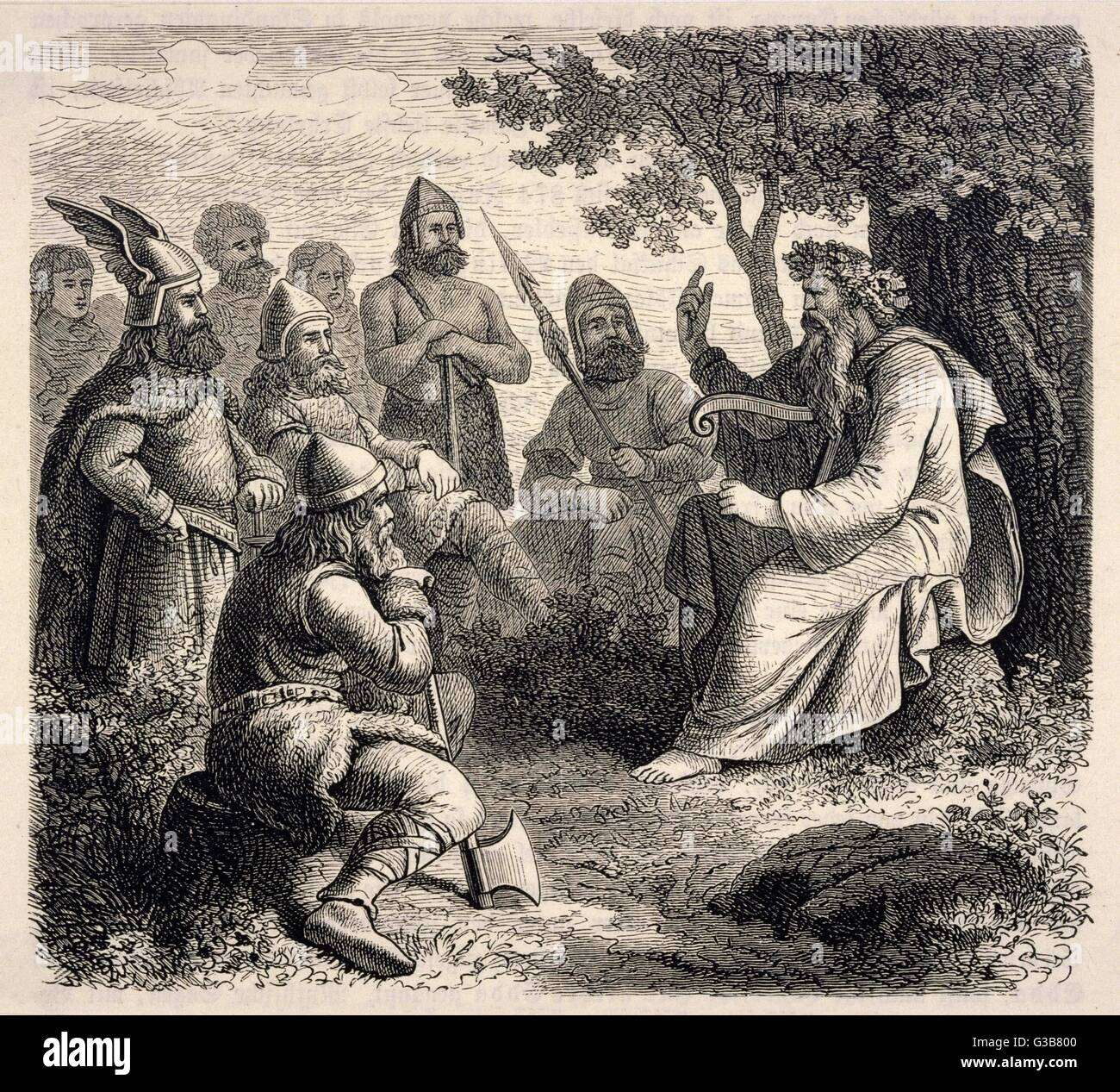 A Danish 'skalde' (bard) sings  the sagas of past glories to  an attentive group of  warriors.       Date: - Stock Image