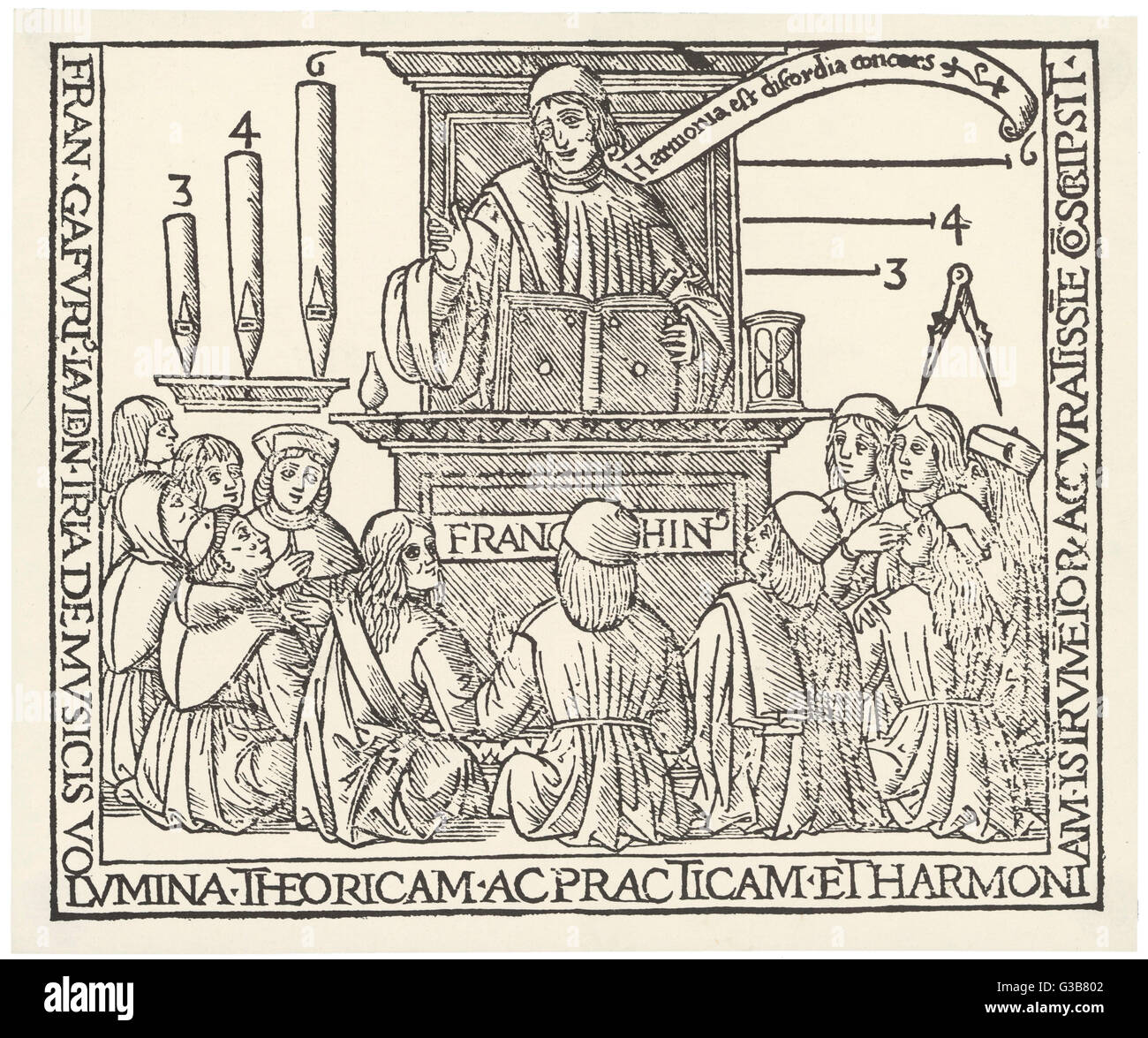 The academy of Franchino  Gaforio (1451 - 1522) showing his theory of harmony linking  music and geometry; his banner - Stock Image