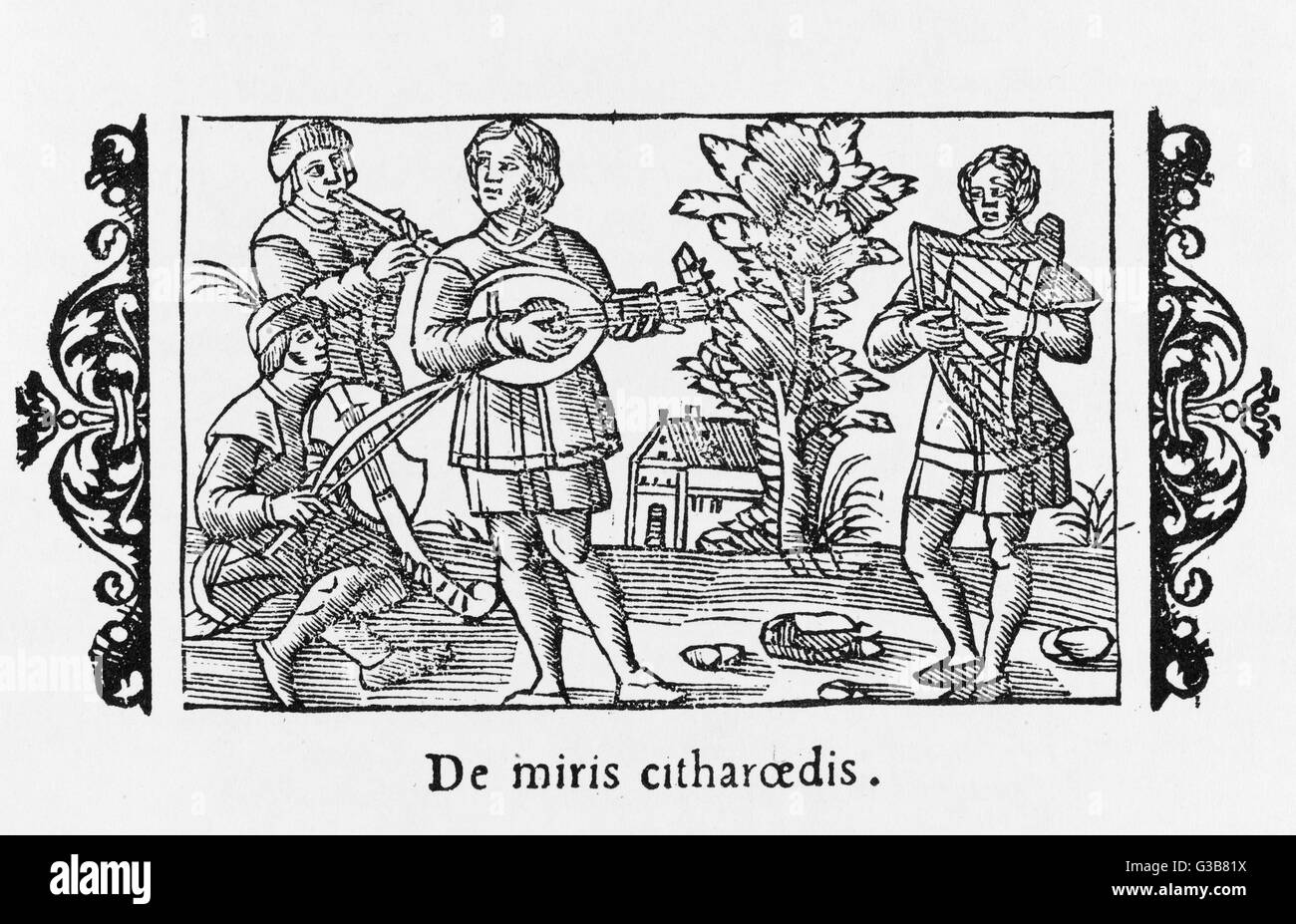A piper performs with players  of three types of stringed instruments - a rebec, a lute  and a harp.      Date: - Stock Image