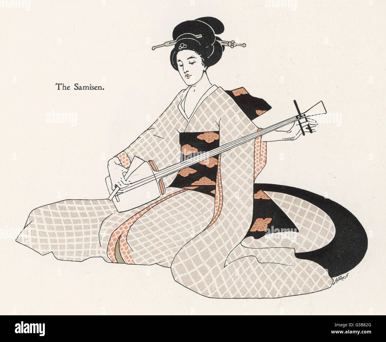 A Japanese musician plays the  SAMISEN, a stringed instrument  like a guitar, plucked with  the fingers or a plectrum. - Stock Image
