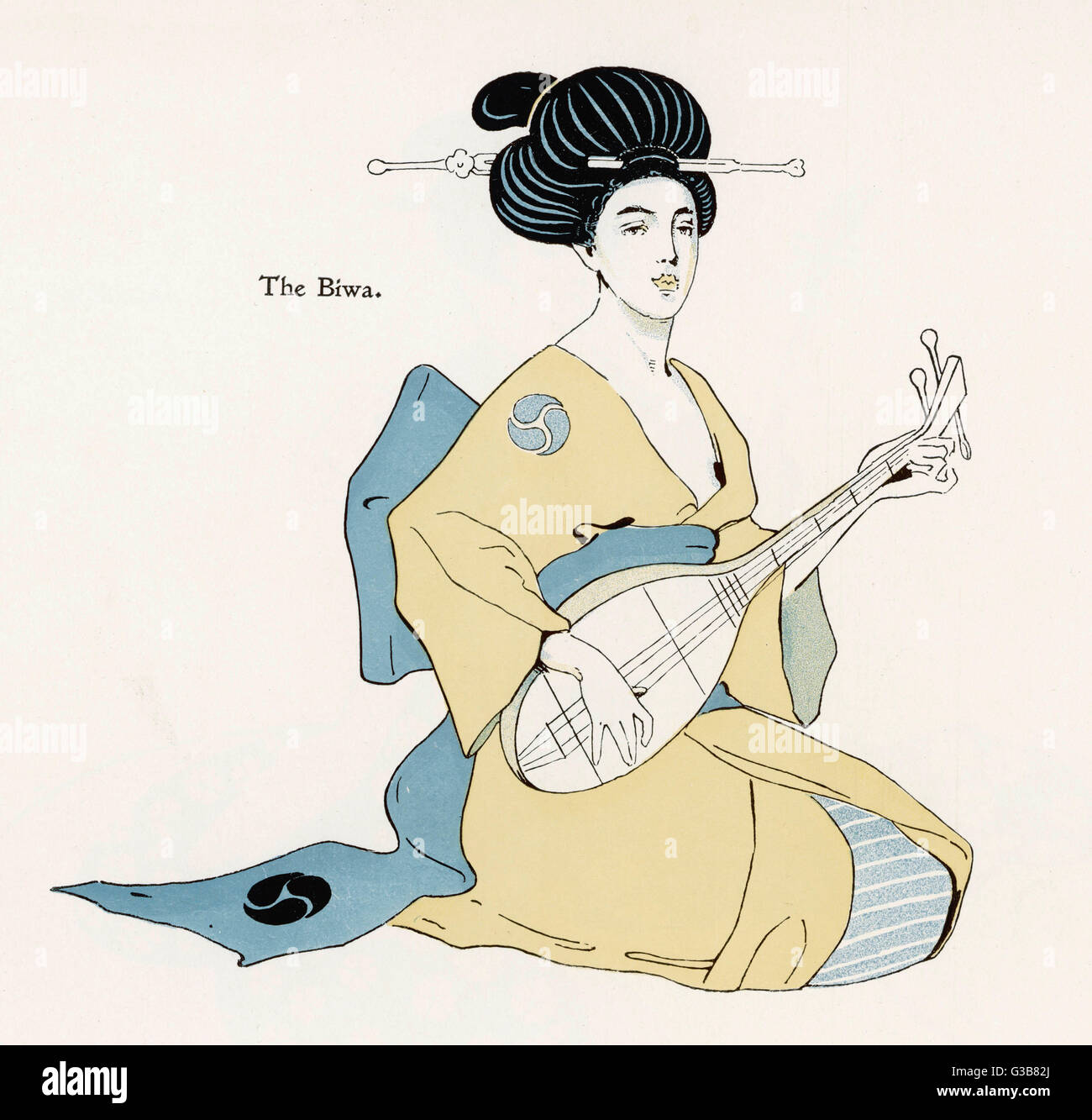 A Japanese musician plays the  BIWA, which resembles the  western lute.       Date: 1898 - Stock Image