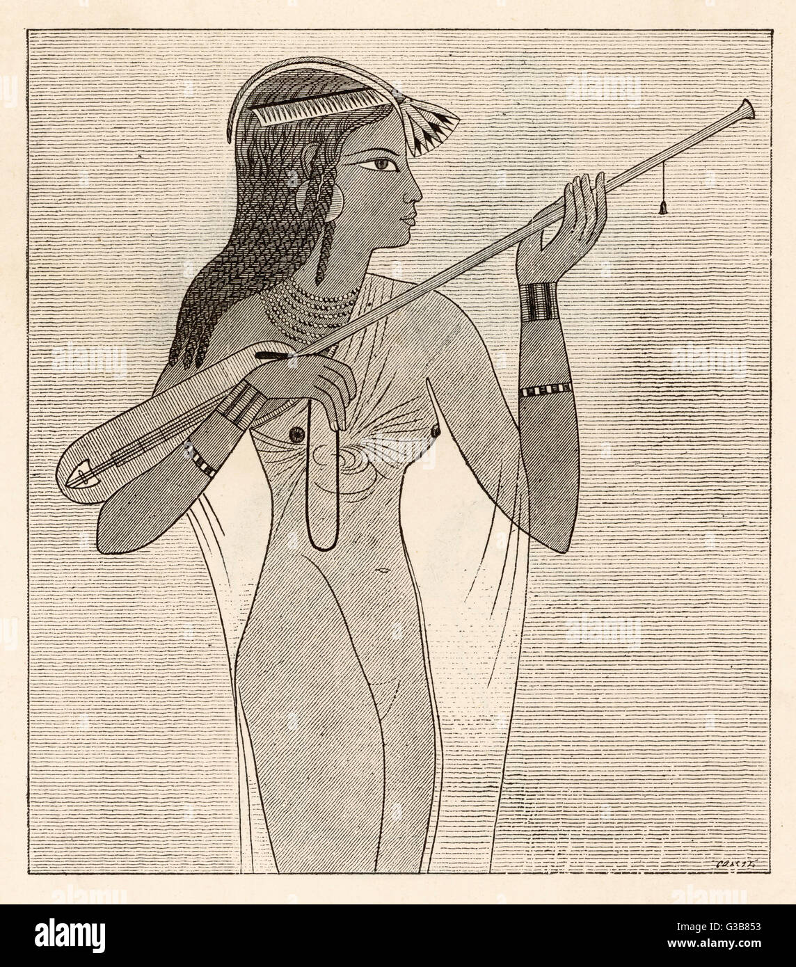A female musician plays the  TAMBOURAH, a stringed  instrument played with the bow  - a reminder how ancient this - Stock Image