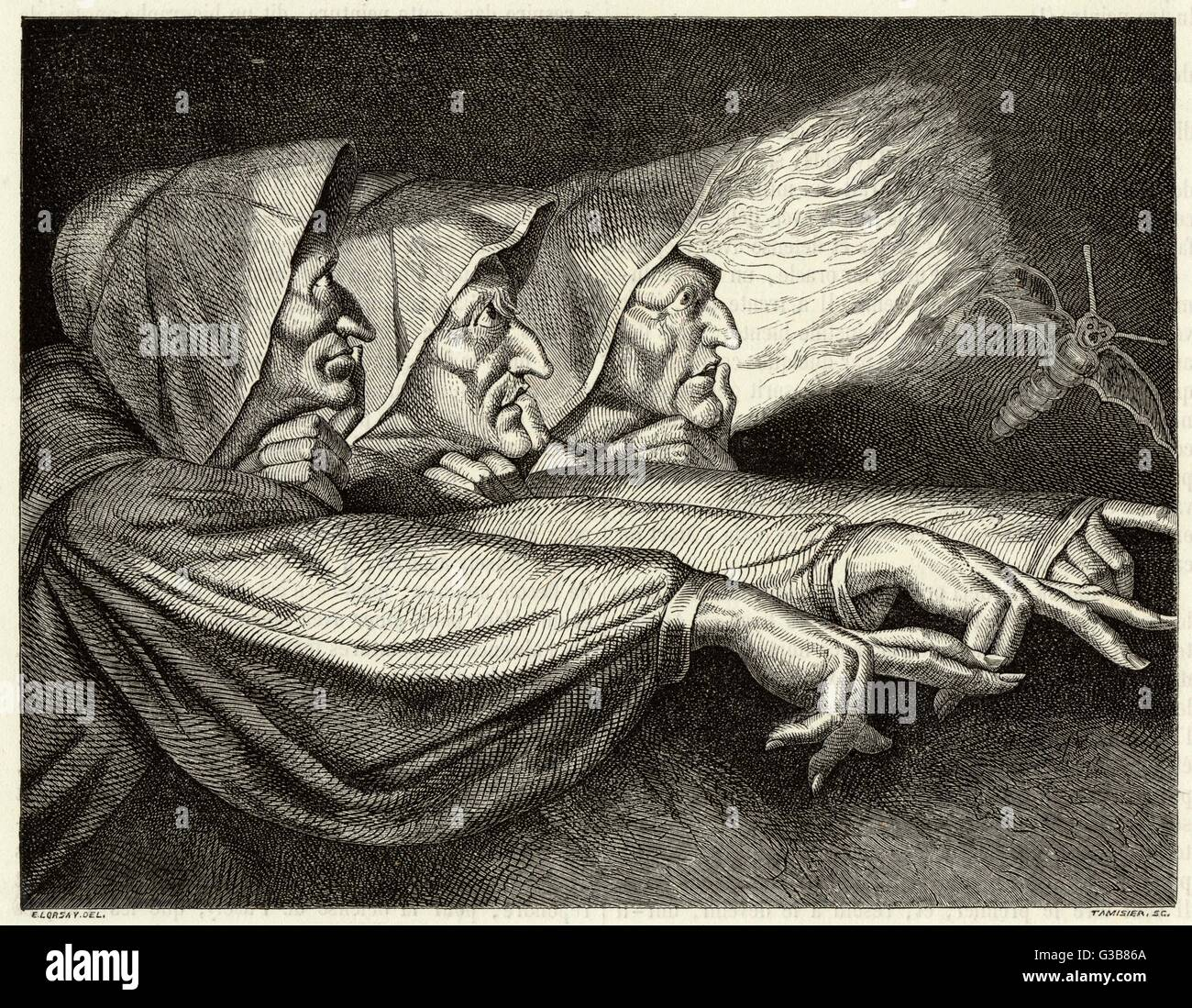 The witches        Date: 1863 - Stock Image
