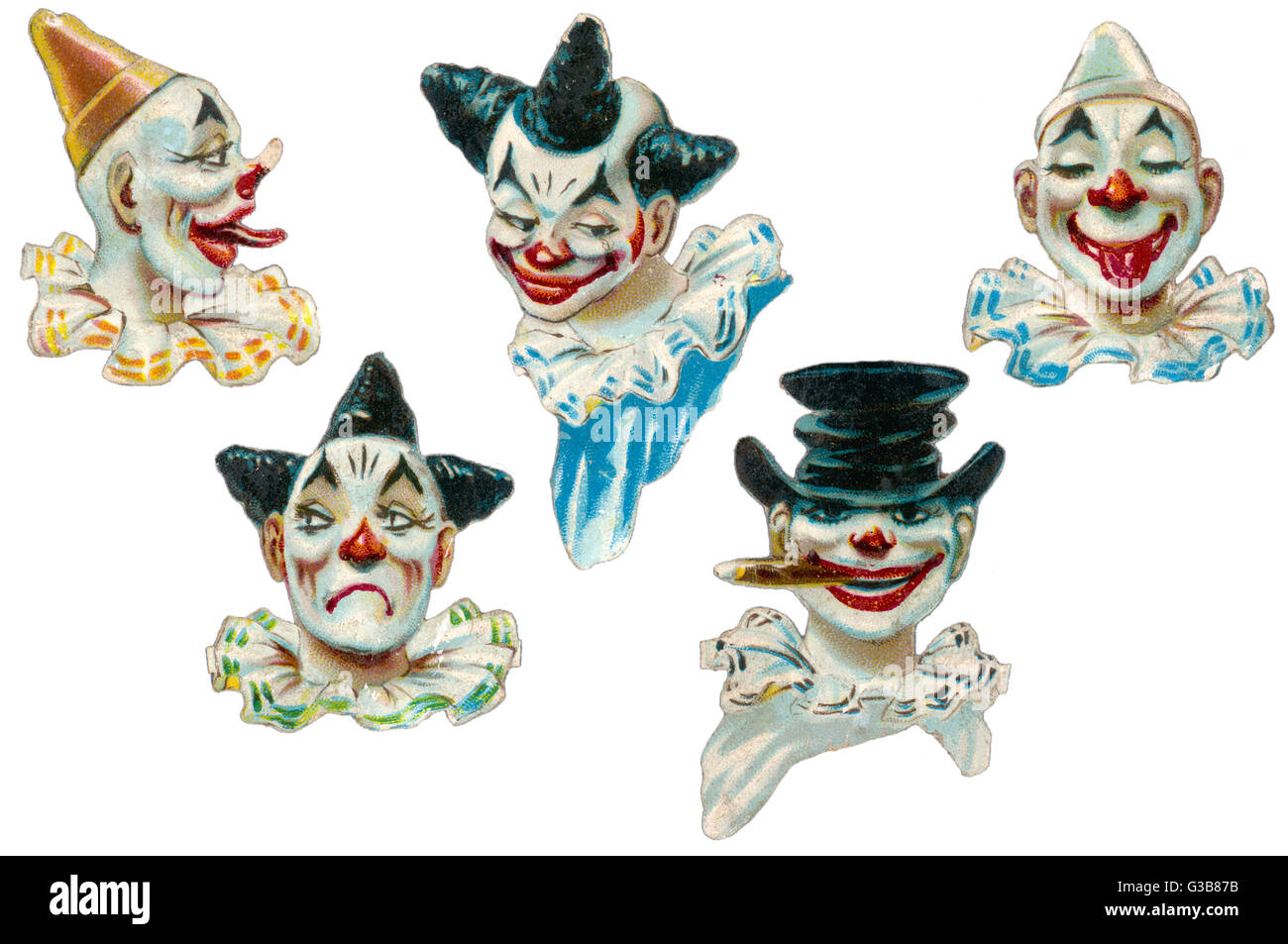 A selection of clown's faces  with various expressions.        Date: late 19th century - Stock Image