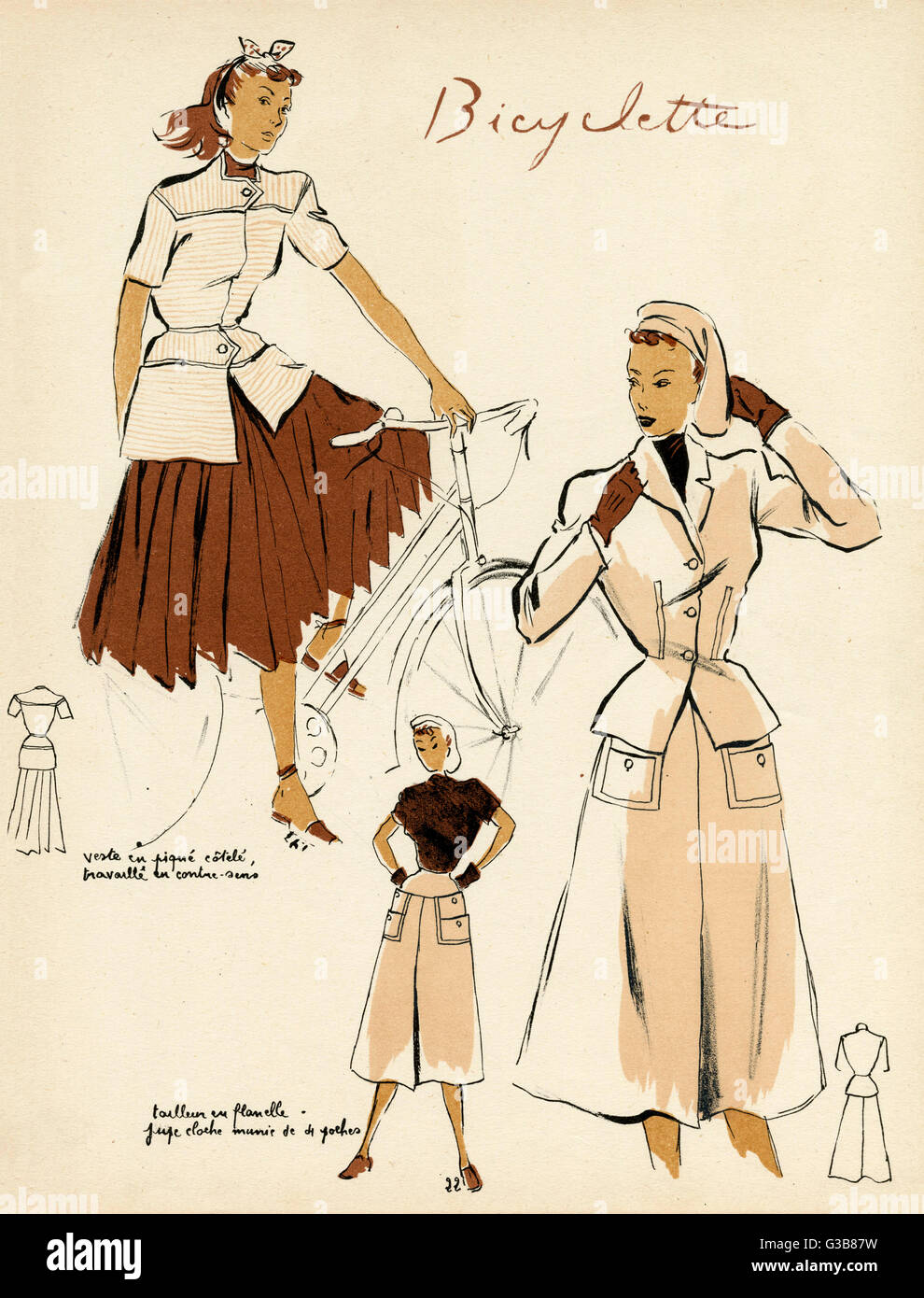 0e7c4d8623 Fashions for bicycling include a pleated skirt & short sleeved jacket;  also an '