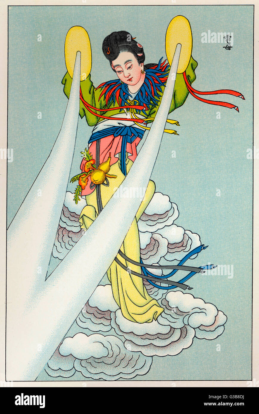 TIAN-MU, goddess & mother of  lightning. She uses mirrors to  send the lightning to earth.        Date: - Stock Image