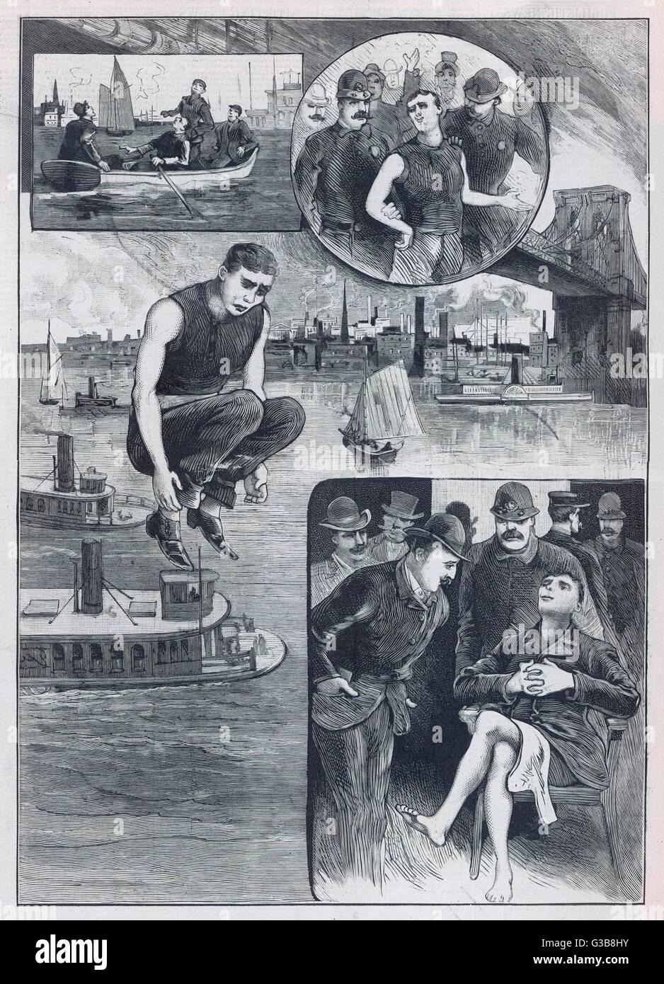 Scenes from Steve Brodie's  leap off the Brooklyn Bridge         Date: 1886 - Stock Image
