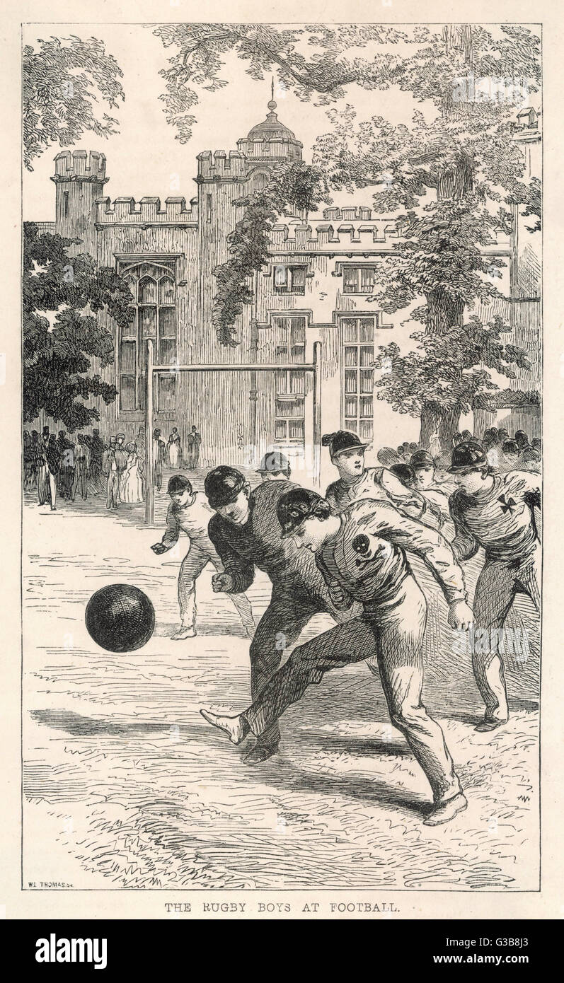 54b8266f80d AT RUGBY SCHOOL Boys at Rugby School play rugby football in the school  grounds. Date: 1863