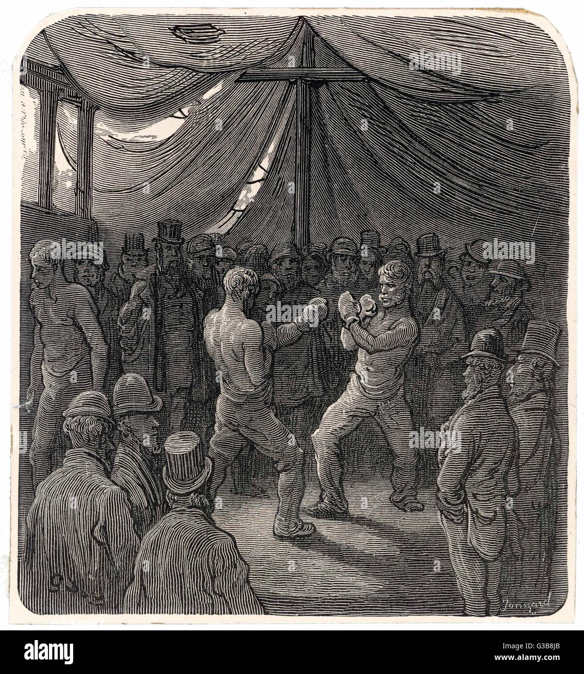 Two fighters slug it out in  the gloomy interior of a tent,  watched by a small crowd of  Londoners who have probably - Stock Image