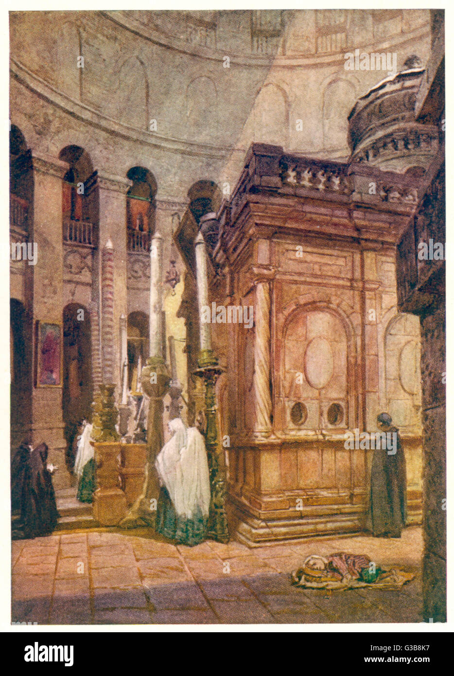 Jerusalem:  inside the church of the Holy Sepulchre       Date: 1901 - Stock Image