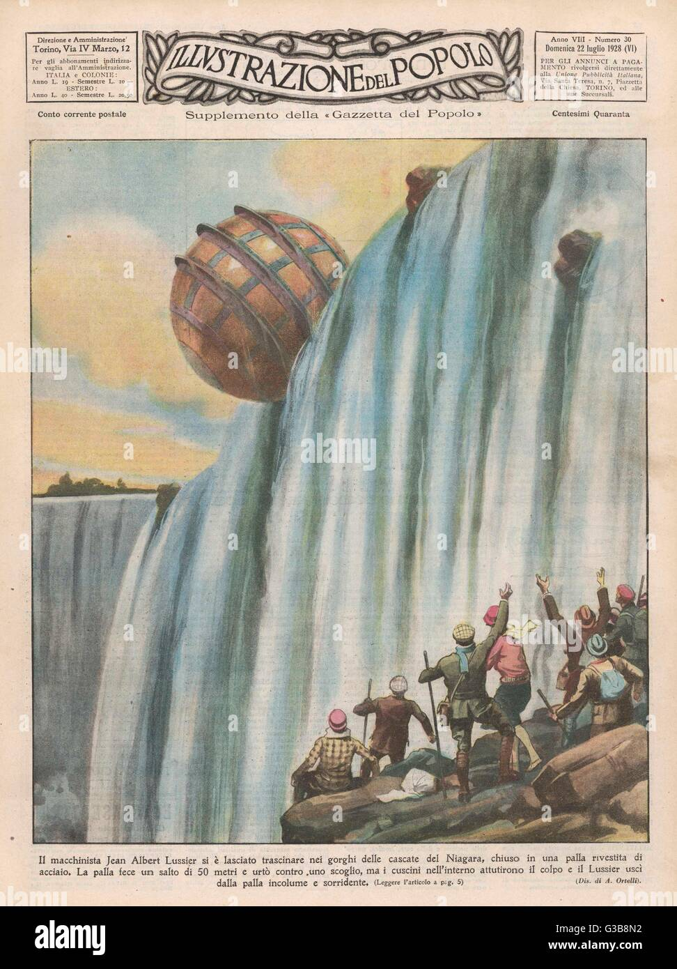 Jean Albert Lussier goes over  Niagara enclosed in a steel  sphere and comes out smiling,  despite hitting a rock - Stock Image