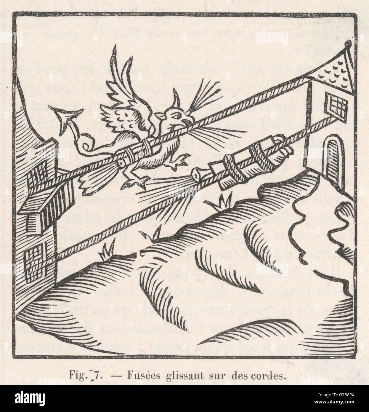 Rockets attached to cords,  accompanied by a dragon in  flight        Date: 1626 - Stock Image