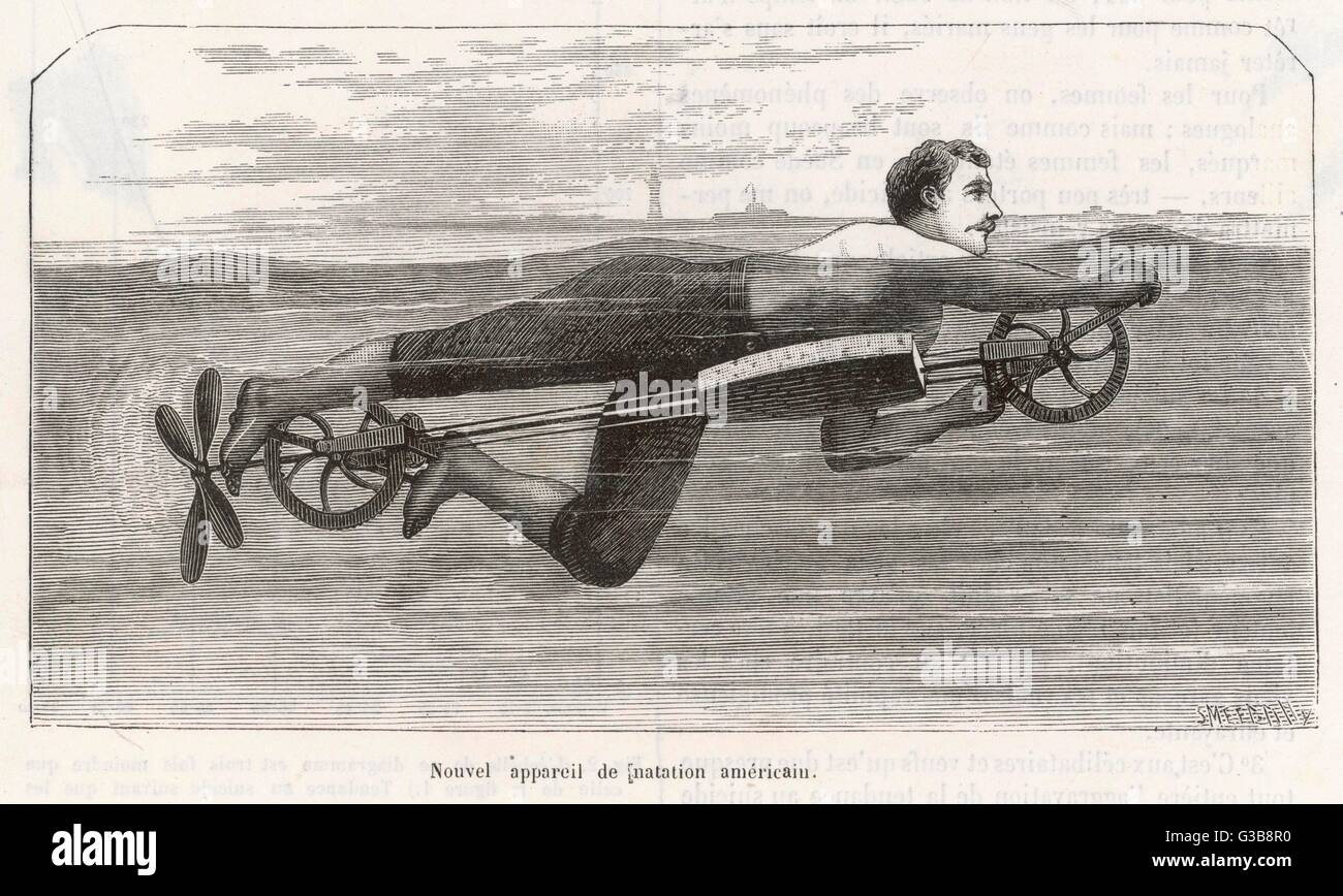 Richardson's swimming device  allows one to sally forth by pedalling a propeller underwater.       Date: 1880 - Stock Image