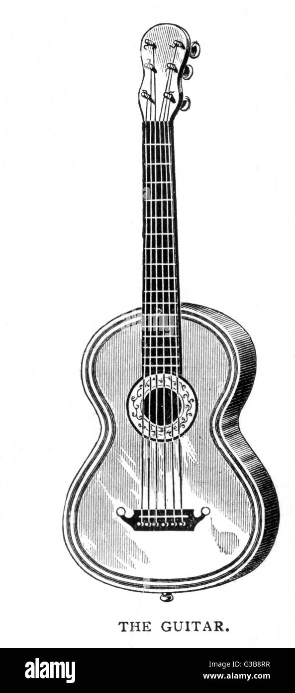 A six-stringed instrument,  usually used as a solo  instrument or to accompany a  singer, but occasionally  employed - Stock Image