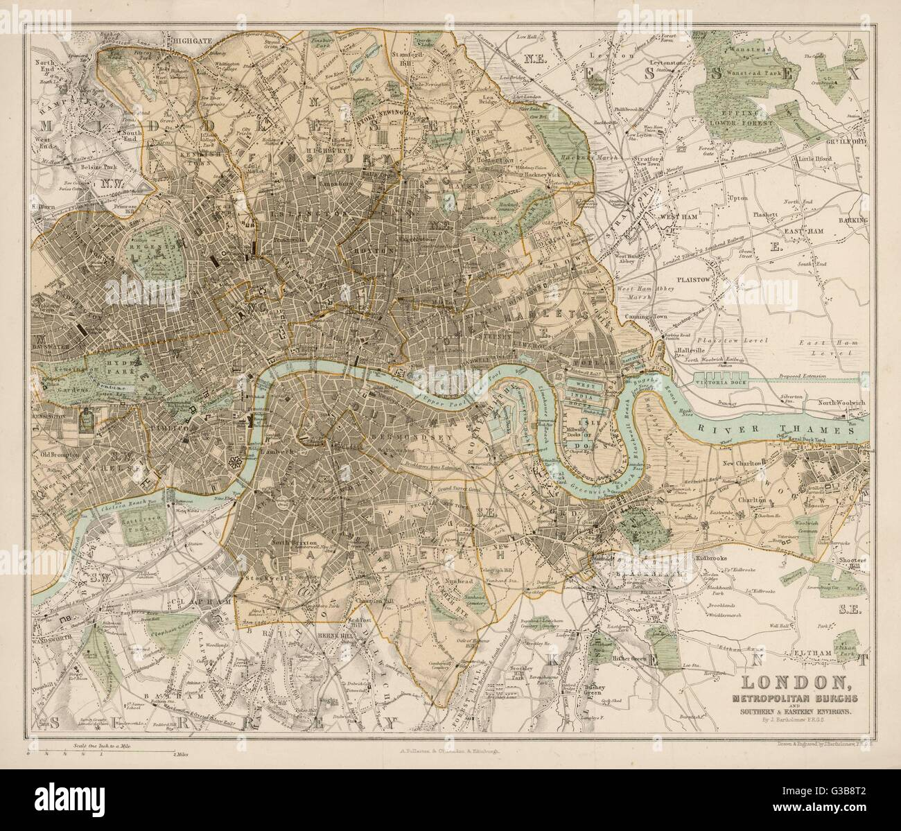 Map of London and its suburbs        Date: 1878 - Stock Image
