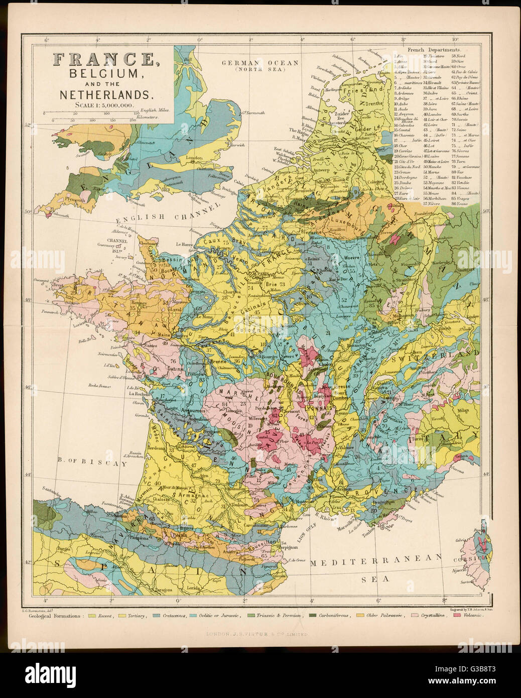 Map Of France Belgium.Map Of France Belgium And The Netherlands Date Early 20th Stock