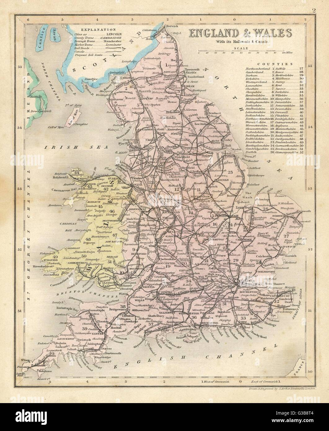 Map of England and Wales showing railways