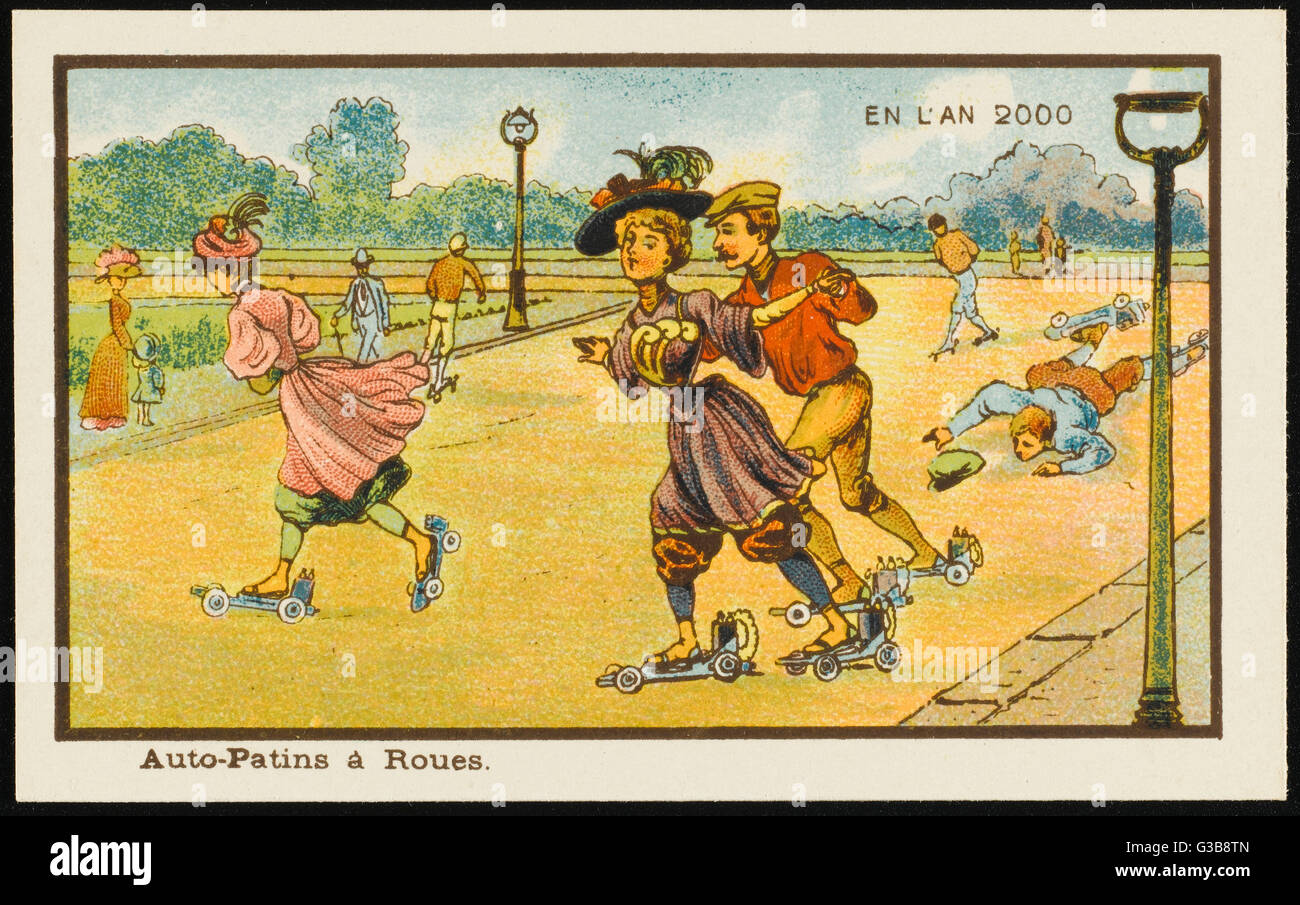 A vision of powered roller- skating in the year 2000.         Date: 1899 - Stock Image