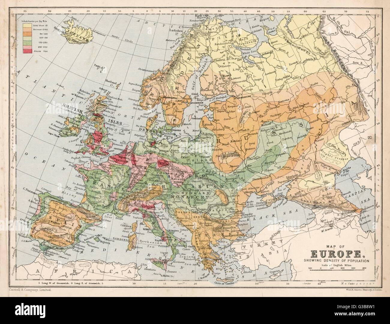 Map of Europe, showing density of population        Date: late 19th century? - Stock Image