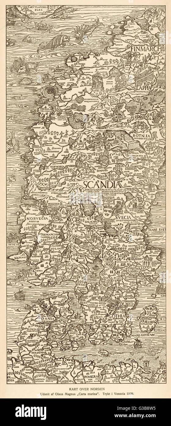 Map of Nordic Countries; 1530 Olaus Magnus; Carta Marina Reproduction
