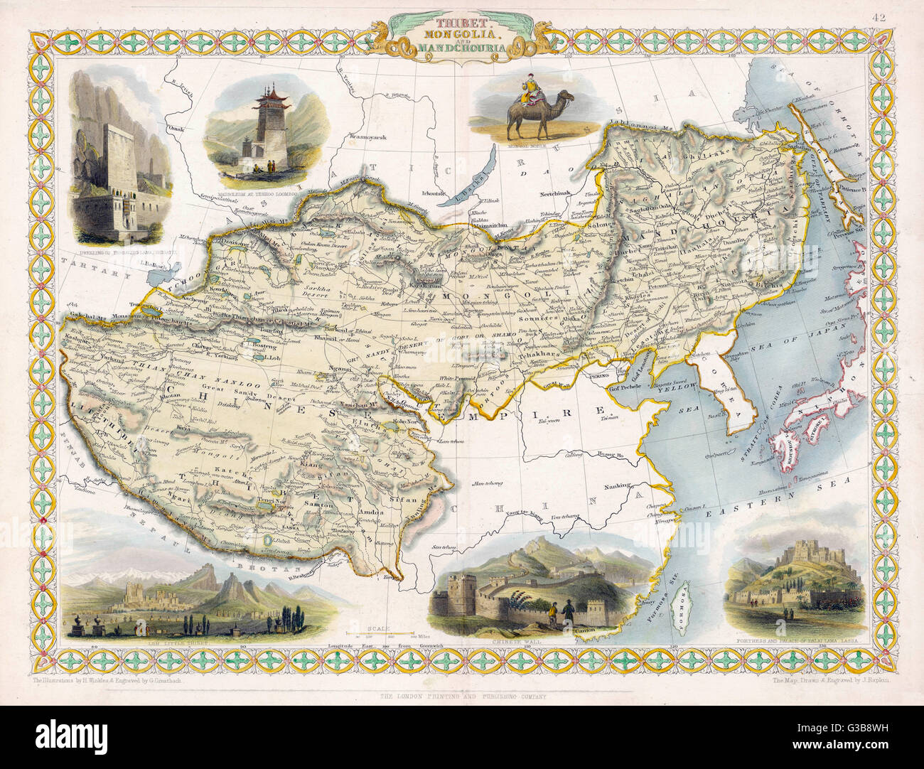 Map of Tibet, Mongolia and Manchuria        Date: 1845 - Stock Image