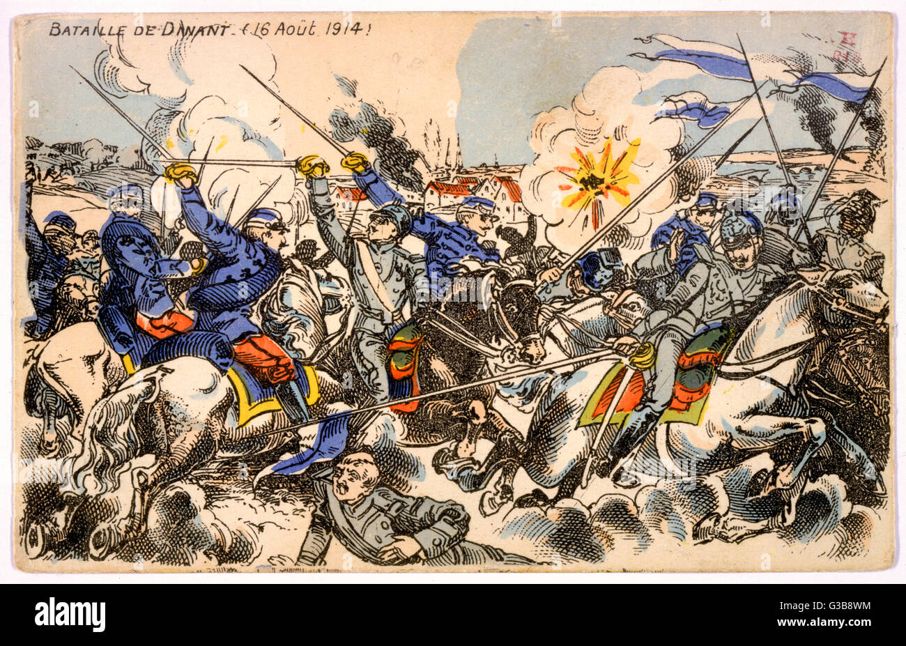 DINANT, Belgium French cavalry resist the  German invasion, but are  forced to retreat : the  fighting is followed - Stock Image