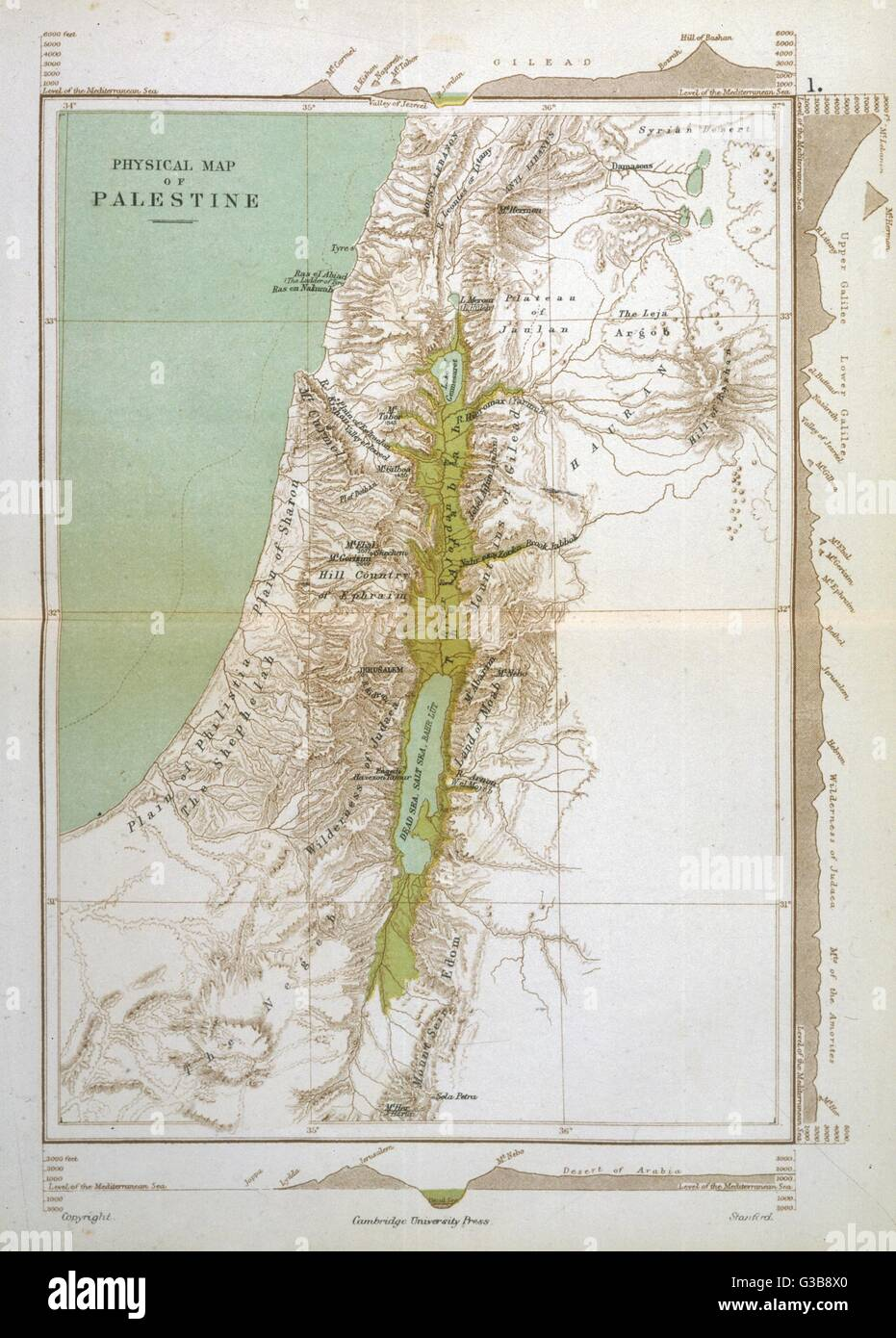 Map of Palestine in Biblical times        Date: BC - Stock Image