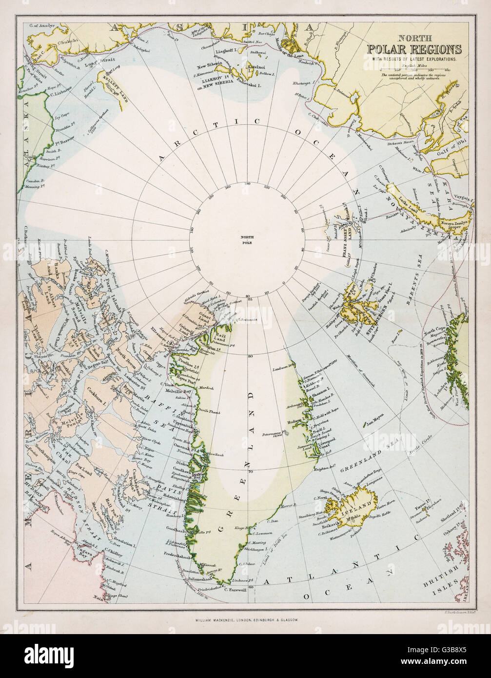Map of the Arctic Circle with details of explorations        Date: circa 1880 - Stock Image