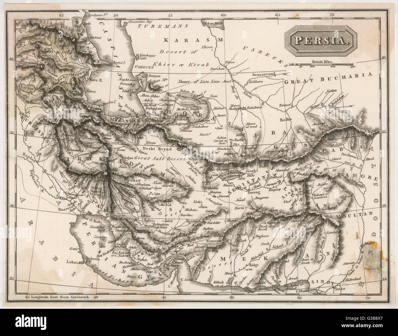 Map of Persia (Iran)         Date: 19th century Stock Photo