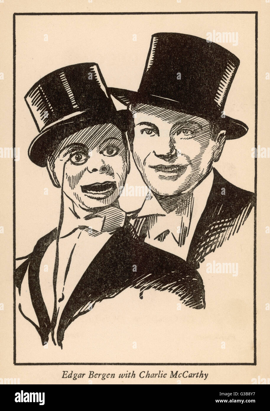 Edgar Bergen and Charlie  McCarthy, his ventriloquist's  dummy        Date: 1938 - Stock Image