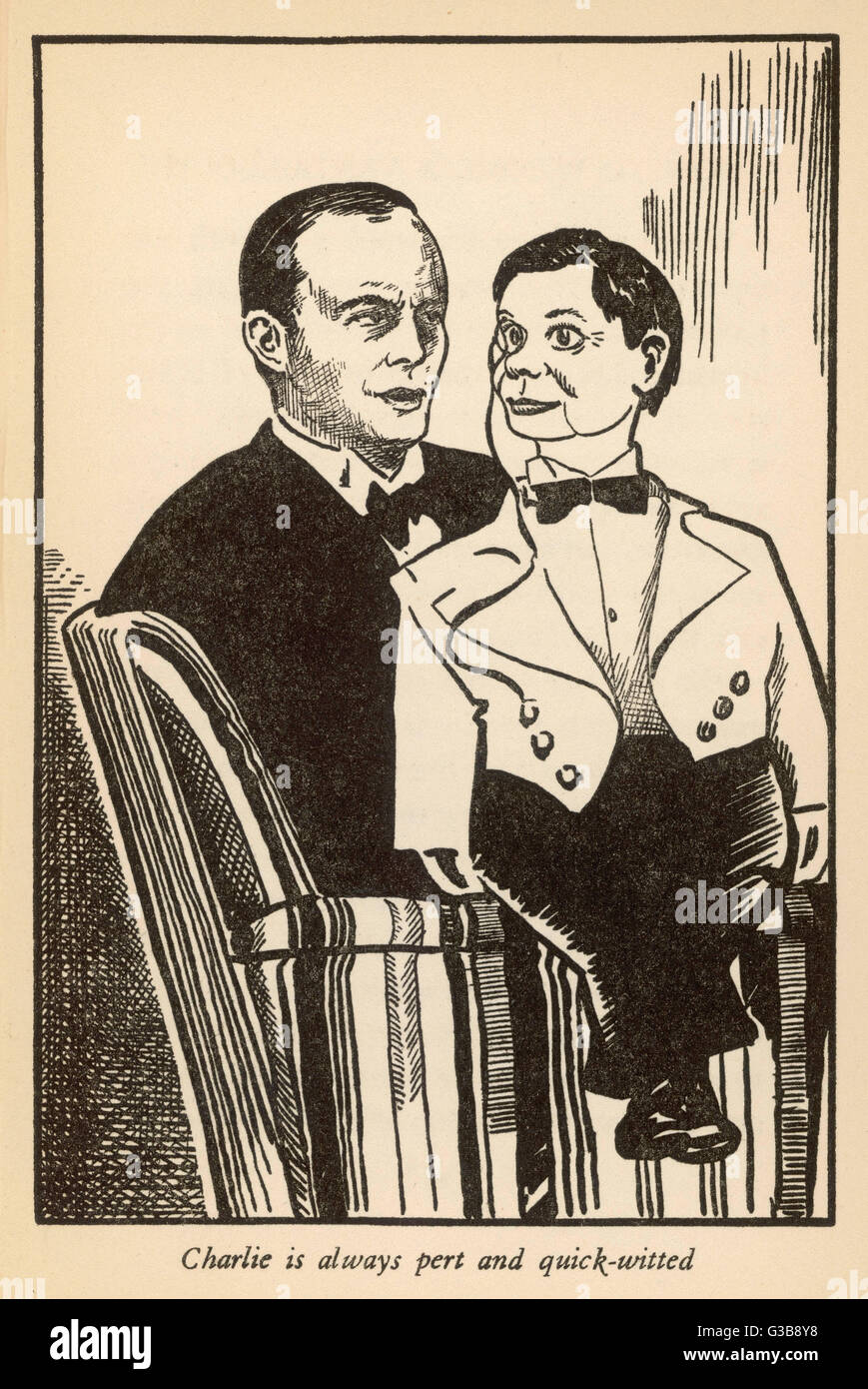 Edgar Bergen with his  ventriloquist's dummy Charlie  McCarthy who is 'always pert  and quick-witted' - Stock Image
