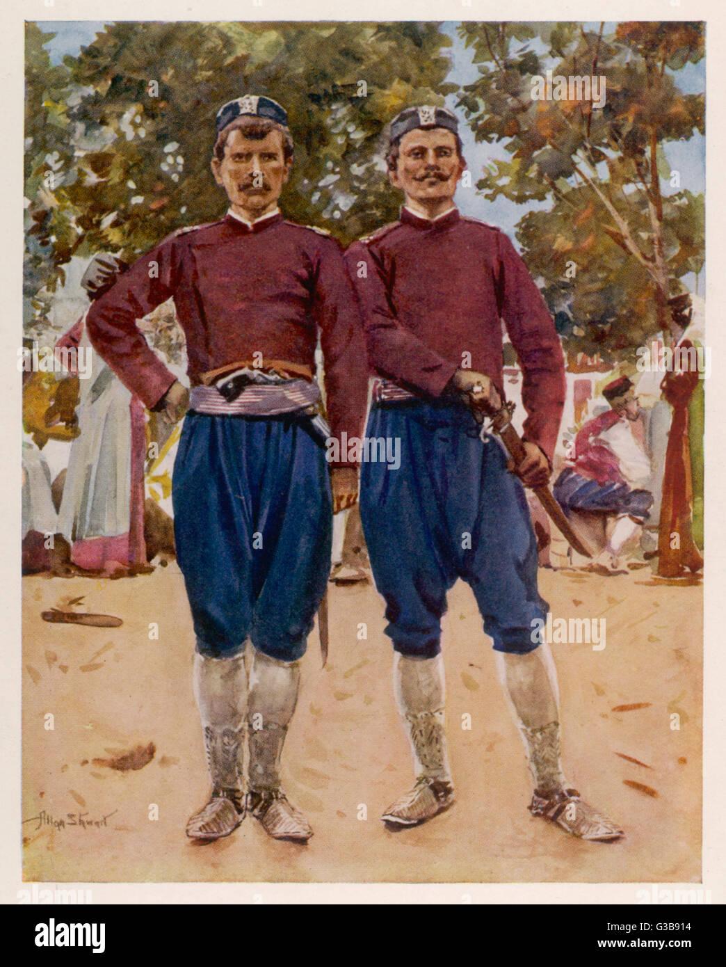 Montenegro warriors of the Black Mountains, Podgorica       Date: 1913 - Stock Image