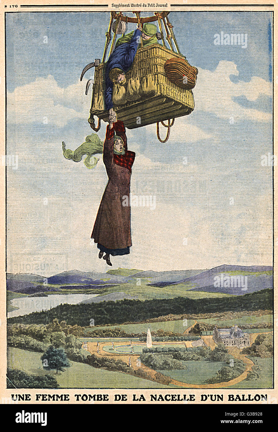 When a Swiss balloon tips  suddenly, a female passenger  falls out : her companion  grabs and holds her as long - Stock Image