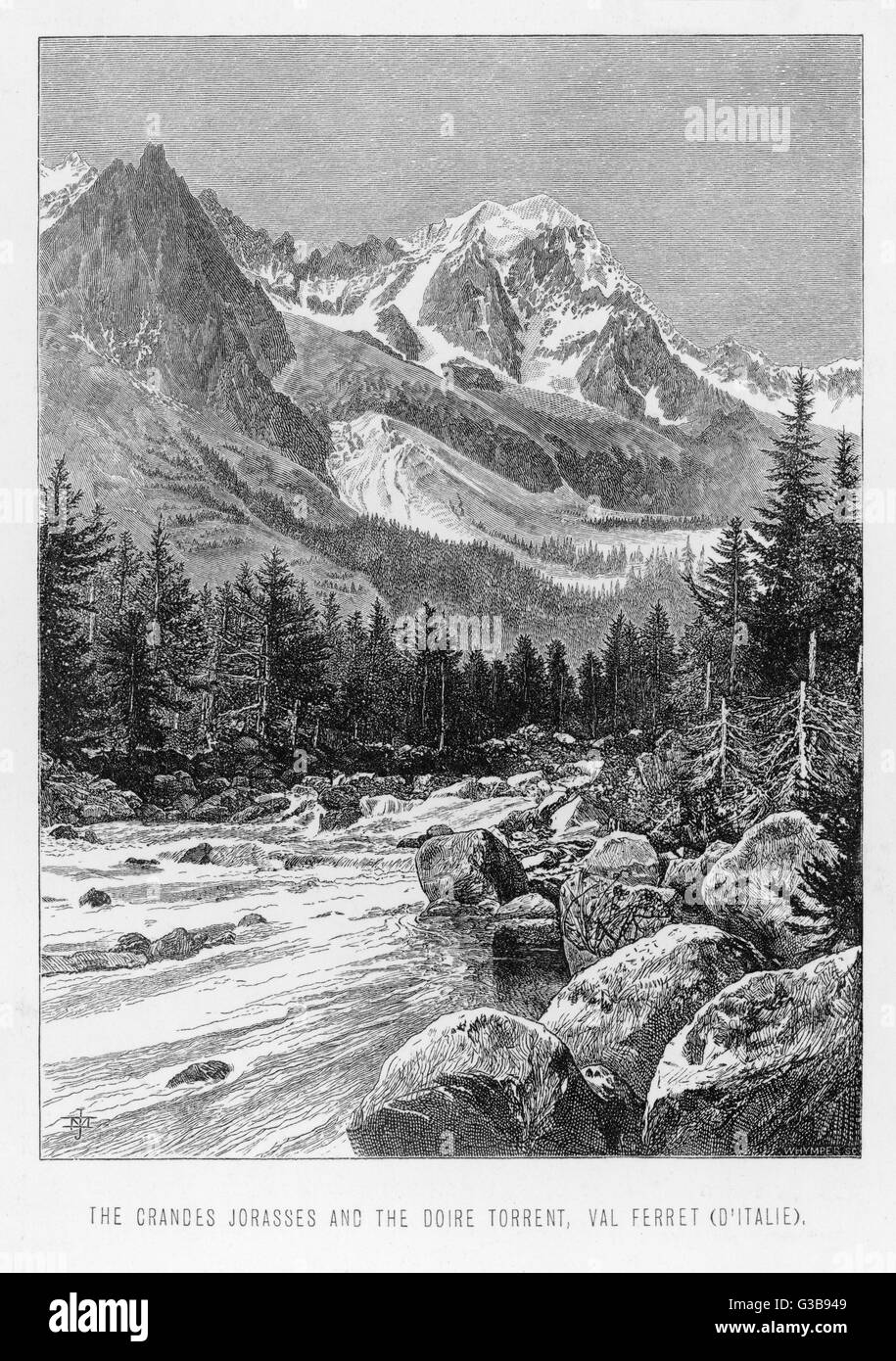 The 'Grandes Jorasses'          Date: Nineteenth century - Stock Image