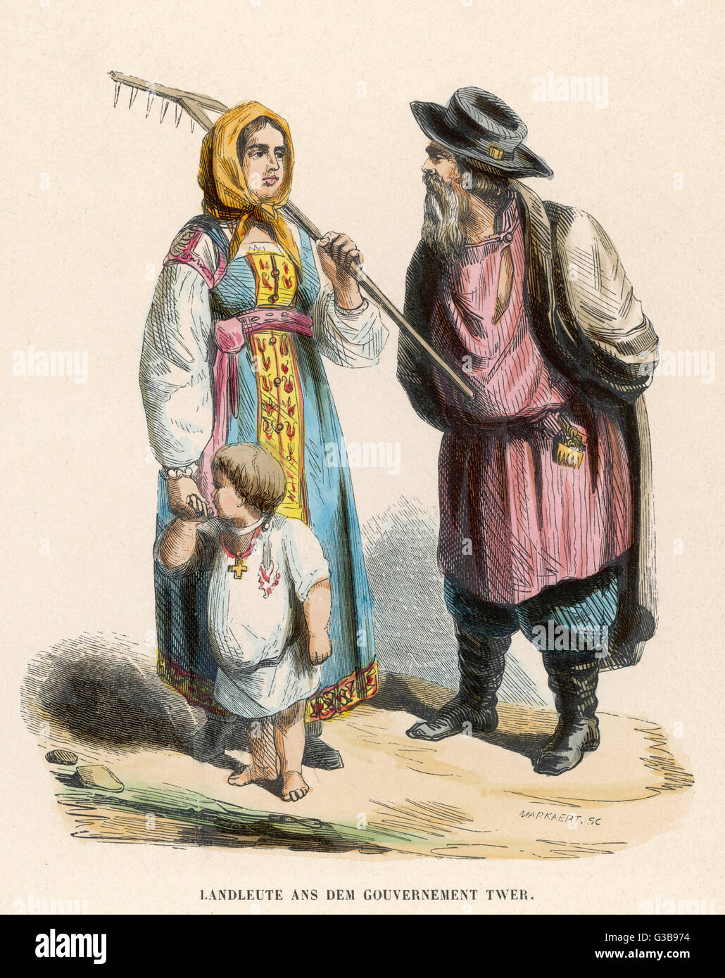 A peasant couple  from Kalinin  (formerly Tver)       Date: circa 1840 - Stock Image