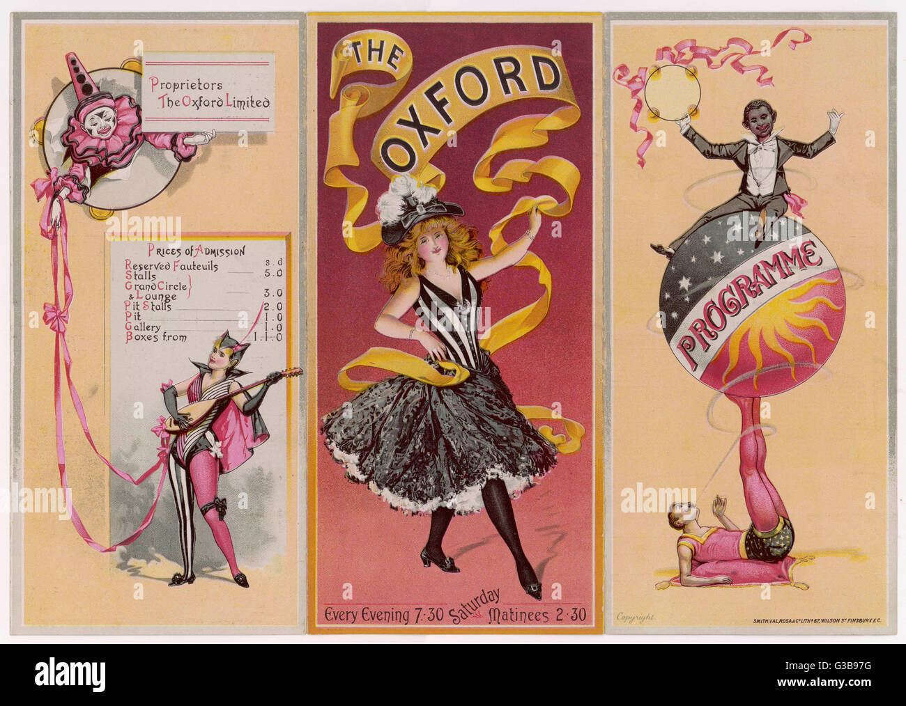 The cover and reverse side of  a programme for the Oxford  Music Hall, London. The bill  for this week, starting - Stock Image