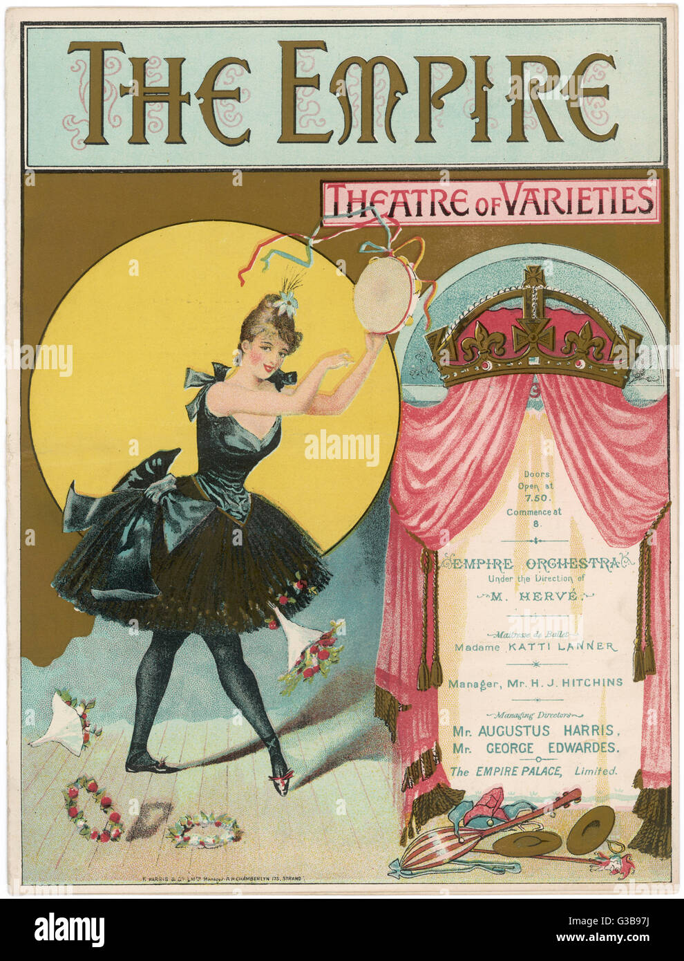 The cover of a programme for  the Empire theatre, London.  The bill featured comedians  including Dan Leno and  - Stock Image