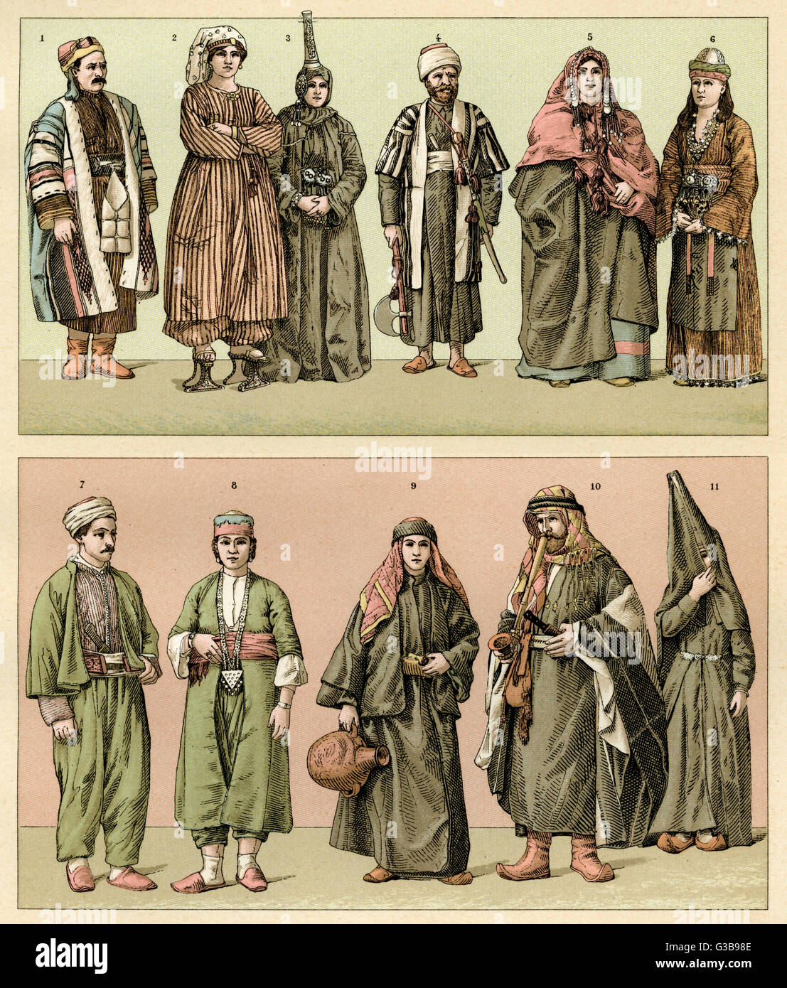 Various people from Asiatic Turkey in traditional dress       Date: mid 19th century - Stock Image