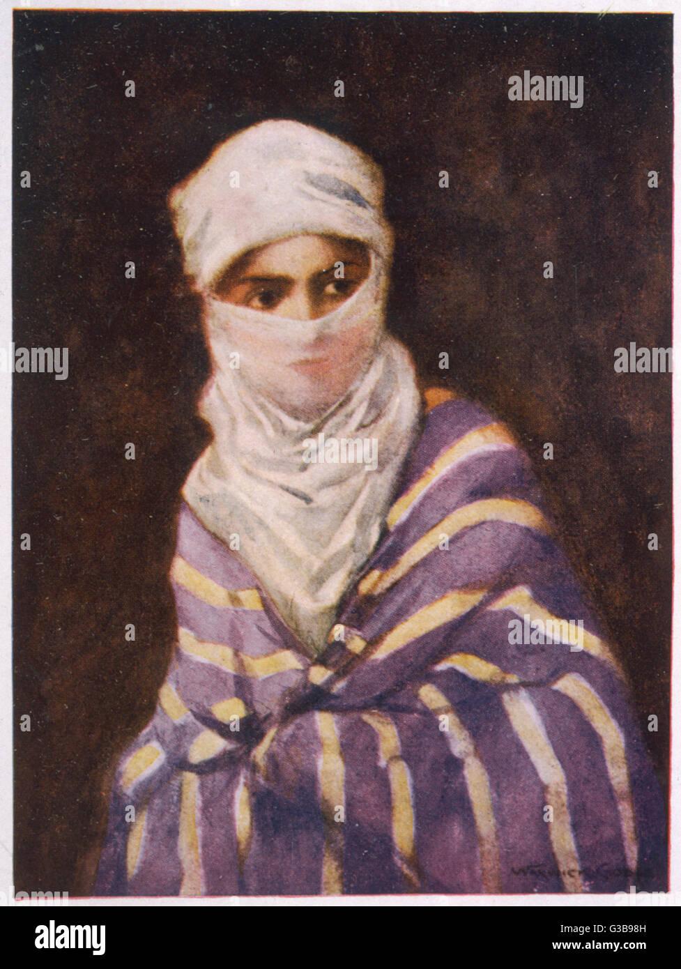 Turkish woman in a Yashmak        Date: 1906 - Stock Image