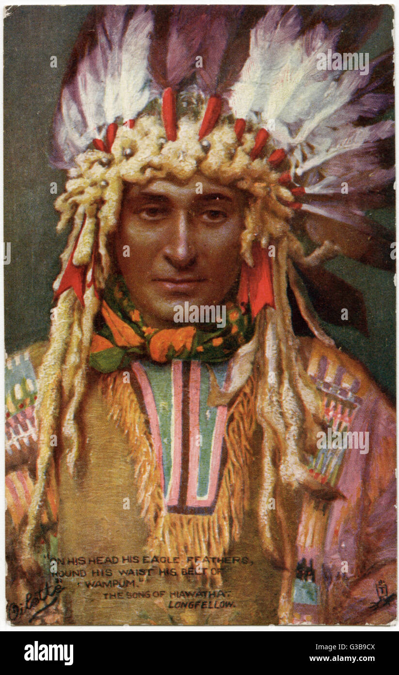 Iroquois chief wearing  ceremonial headdress, to illustrate Longfellow's Song of Hiawatha      Date: 1904 - Stock Image