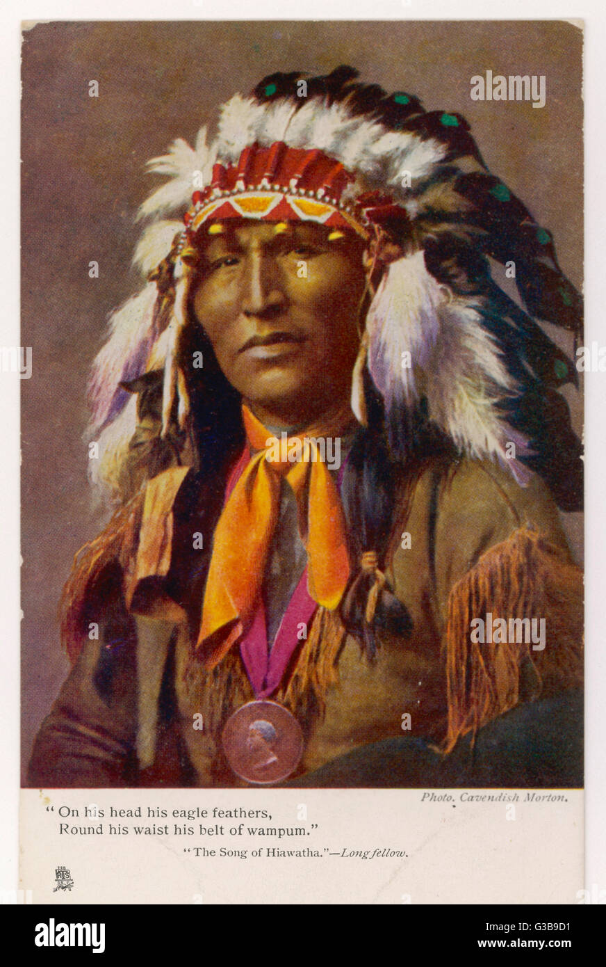 Iroquois chief wearing  a feathered headdress,  illustrating Longfellow's Song of Hiawatha      Date: 1904 - Stock Image