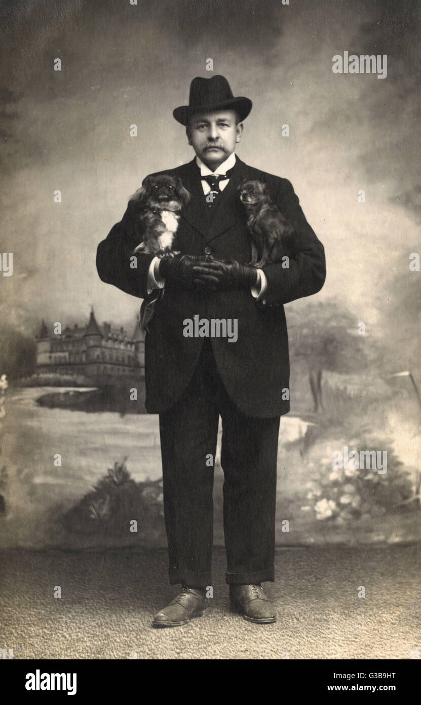 Studio portrait, a French man in a black suit  holds a Pekingese dog under each arm.        Date: circa 1915 - Stock Image
