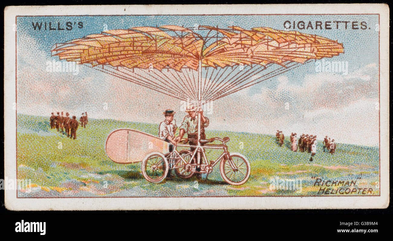 American inventor Rickman's  helicopter resembles a  tricycle with a sunshade...       Date: 1909 - Stock Image