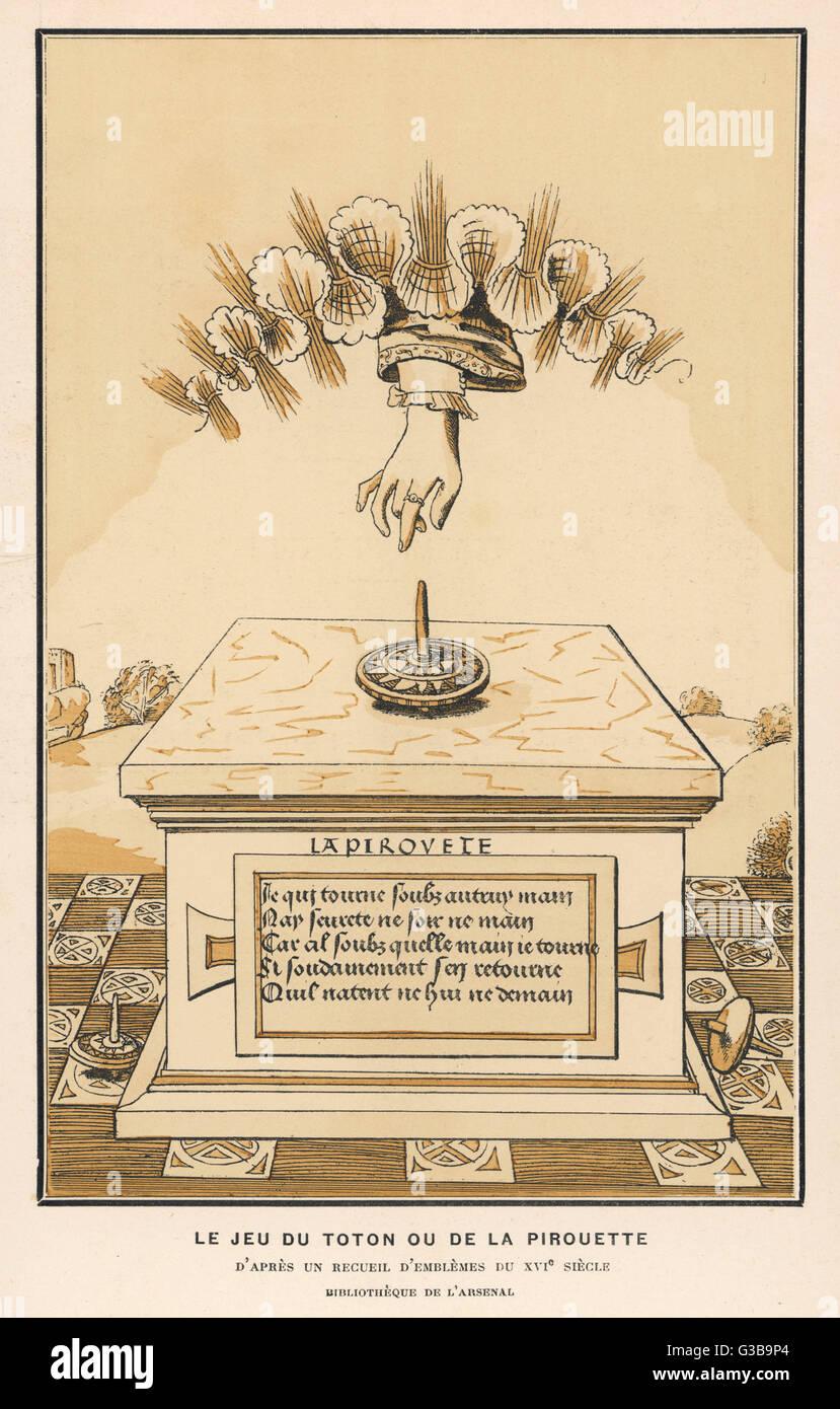 'La Pirouette' spinning top          Date: Sixteenth century - Stock Image