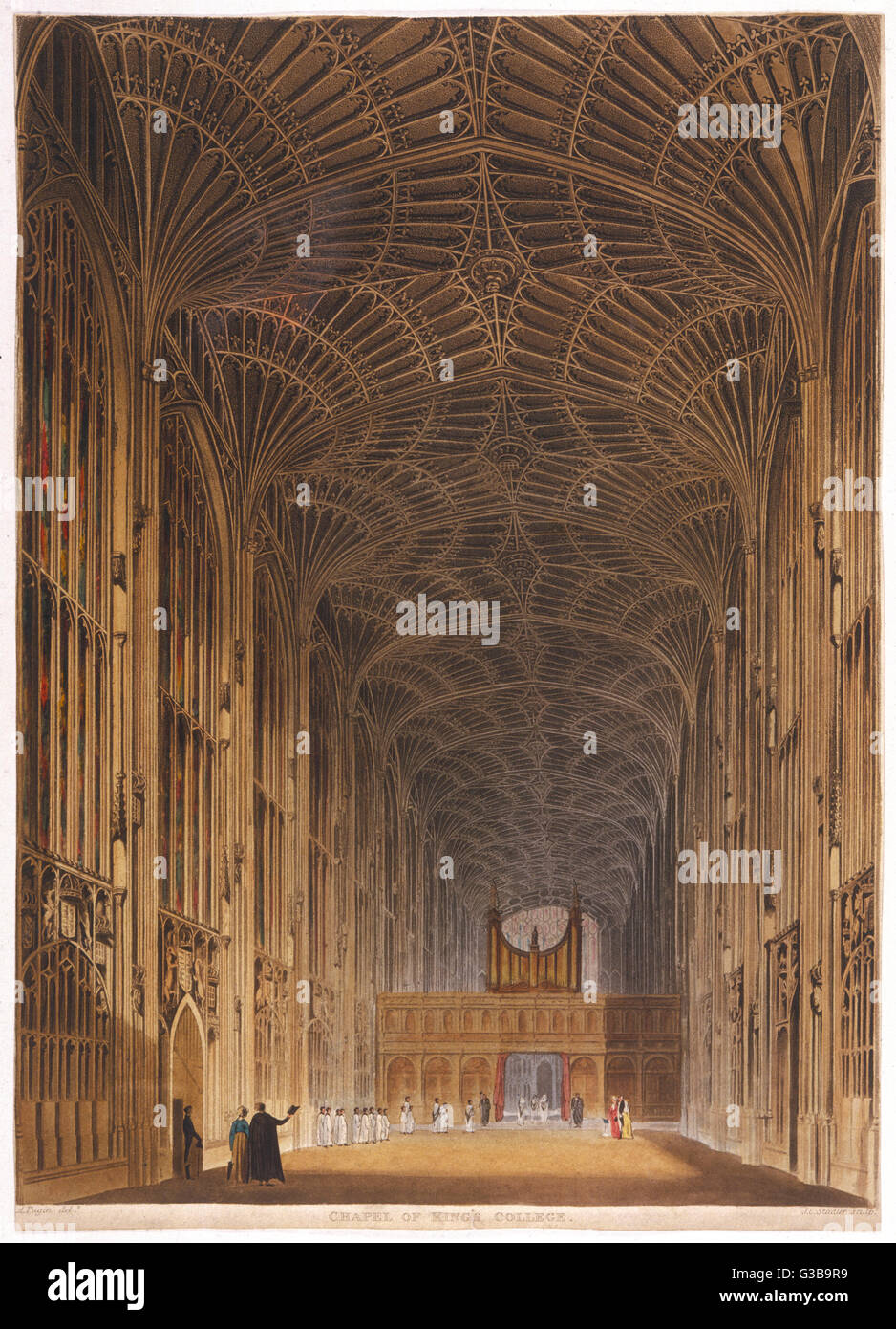 King's College Chapel,  showing details of the ornate ceiling       Date: circa 1820 Stock Photo