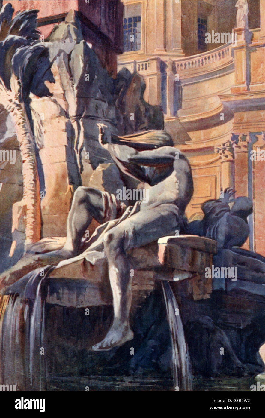 The Four Rivers fountain by  Bernini in Piazza Navona; the  figure of the Nile is shown  with a covered head as - Stock Image