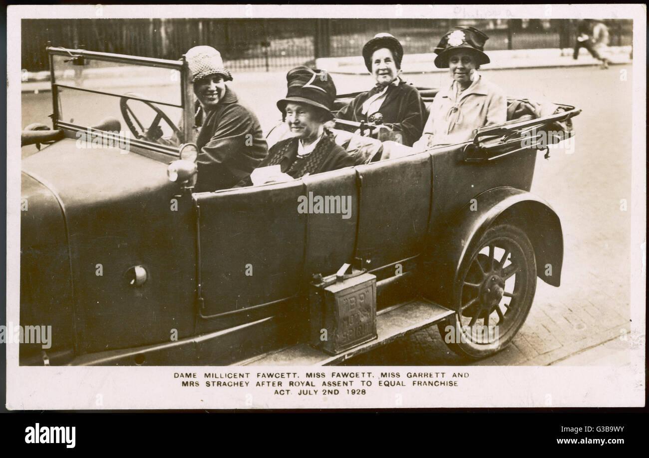 Dame Millicent Fawcett, Miss  Fawcett, Miss Garrett & Mrs  Strachey after Royal Assent to Equal Franchise - Stock Image