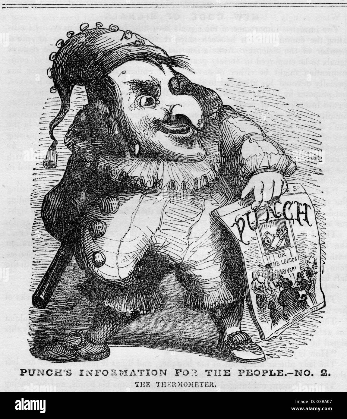 The Mister Punch character  holding a copy of the first  issue of Punch magazine        Date: 1841 - Stock Image